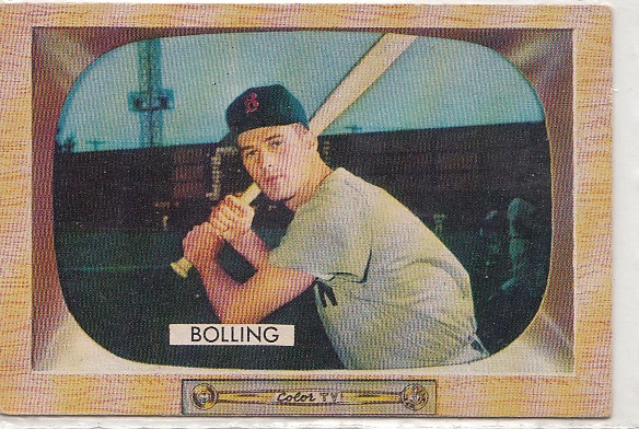 1955 Bowman #48A Milt Bolling ERR (Name on back is Frank Bolling)