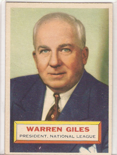 1956 Topps #2A Warren Giles PRES GB