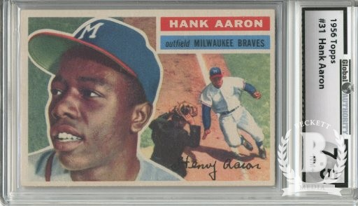 1956 Topps #31 Hank Aaron UER DP (Small photo is Willie Mays)