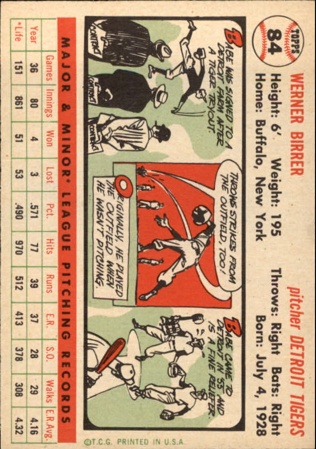 1956 Topps #84 Babe Birrer RC back image