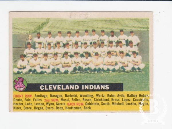 1956 Topps #85A Cleveland Indians TC (No Date Name Centered)