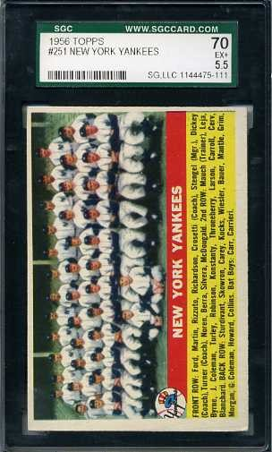 1956 Topps #251 New York Yankees TC UER (Larson on front)