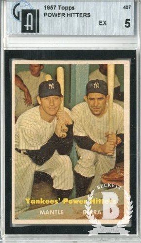 1957 Topps #407 Yankees Power Hitters/Mickey Mantle/Yogi Berra