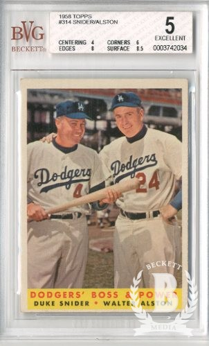 1958 Topps #314 Dodgers Boss and Power/Duke Snider/Walt Alston MG