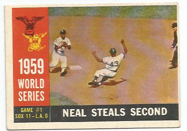 1960 Topps #385 World Series Game 1/Charlie Neal/Steals Second