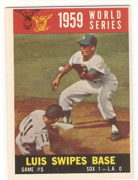 1960 Topps #389A World Series Game 5/Aparicio Steals Base/w/Maury Wills WB