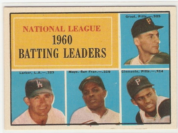 1961 Topps #41 NL Batting Leaders/Dick Groat/Norm Larker/Willie Mays/Roberto Clemente