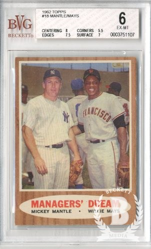 1962 Topps #18 Managers Dream (Mickey Mantle and Willie Mays)