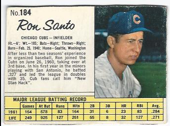 1962 Jello #184 Ron Santo