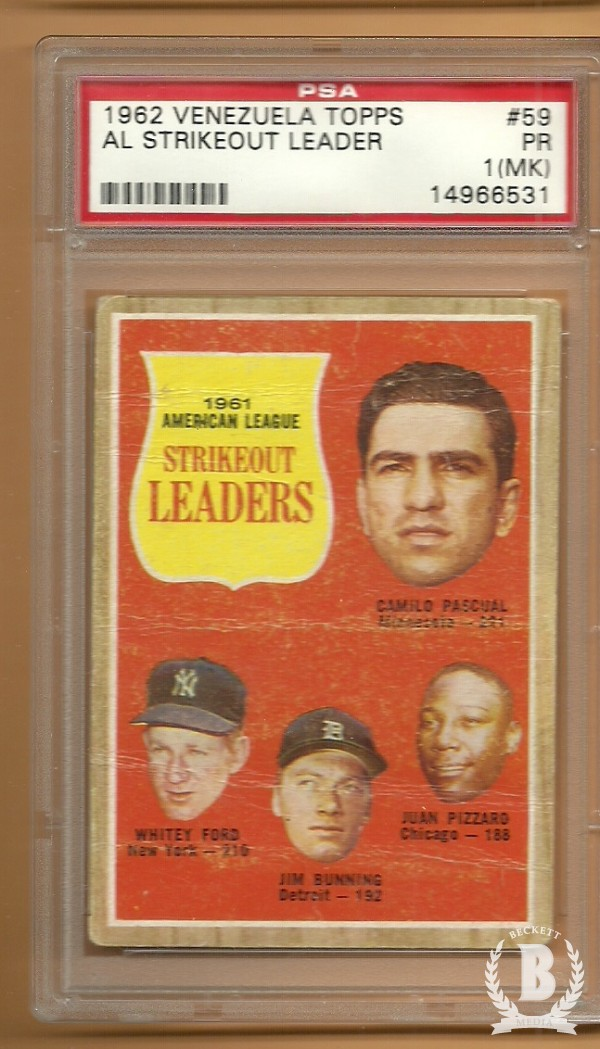 1962 Topps Venezuelan #59 Pasc/Ford/Bunn/Pizz LL