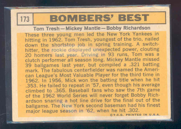 1963 Topps #173 Bomber's Best/Tom Tresh/Mickey Mantle/Bobby Richardson back image