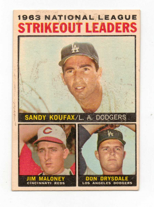 1964 Topps #5 NL Strikeout Leaders/Sandy Koufax/Jim Maloney/Don Drysdale