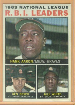 1964 Topps #11 NL RBI Leaders/Hank Aaron/Ken Boyer/Bill White