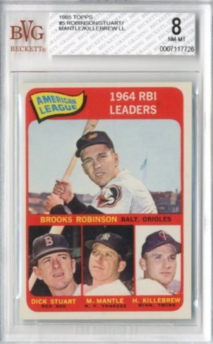 1965 Topps #5 AL RBI Leaders/Brooks Robinson/Harmon Killebrew/Mickey Mantle/Dick Stuart