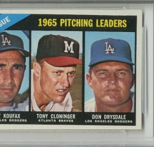 1966 Topps #223 NL Pitching Leaders/Sandy Koufax/Tony Cloninger/Don Drysdale