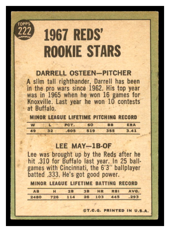 1967 Topps #222 Rookie Stars/Darrell Osteen/Lee May back image