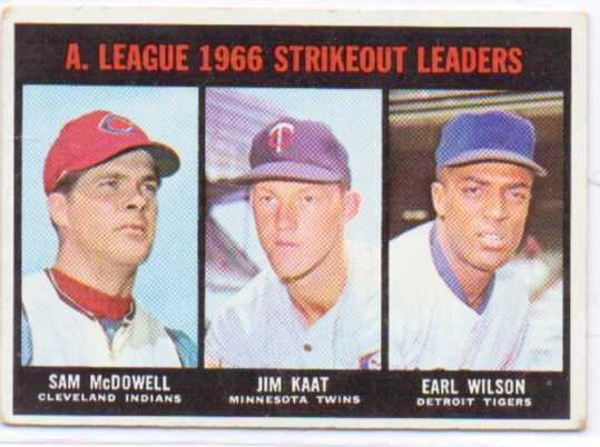 1967 Topps #237 AL Strikeout Leaders/Sam McDowell/Jim Kaat/Earl Wilson