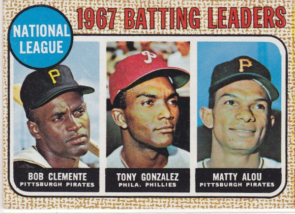 1968 Topps #1 NL Batting Leaders/Roberto Clemente/Tony Gonzalez/Matty Alou