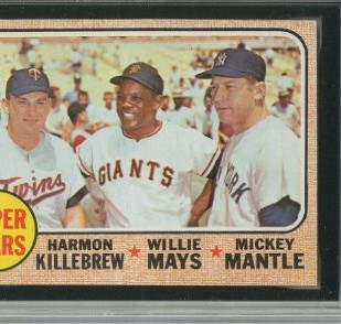 1968 Topps #490 Super Stars/Harmon Killebrew/Willie Mays/Mickey Mantle