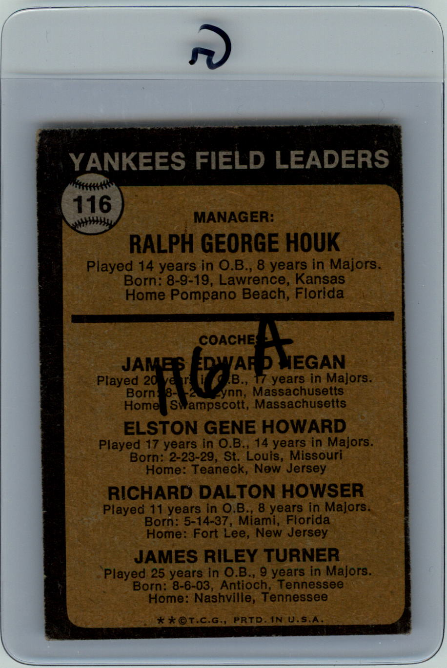 1973 Topps #116A Ralph Houk MG/Jim Hegan CO/Elston Howard CO/Dick Howser CO/Jim Turner CO/Solid backgrounds back image
