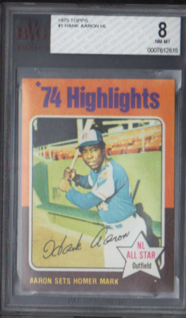 1975 Topps #1 Hank Aaron HL/Sets Homer Mark