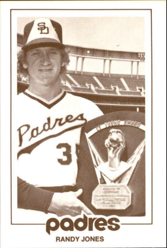 1977 Padres Schedule Cards #30B Randy Jones/Holding Cy Young Award