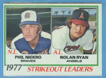 1978 Topps #206 Strikeout Leaders DP/Phil Niekro/Nolan Ryan