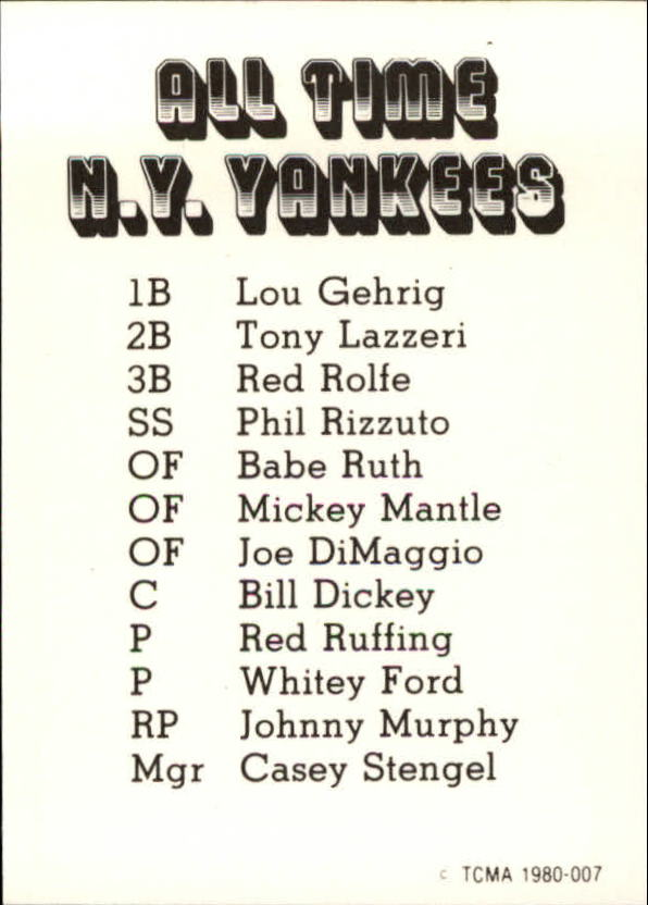 1980 Yankees Greats TCMA #7 Joe DiMaggio back image