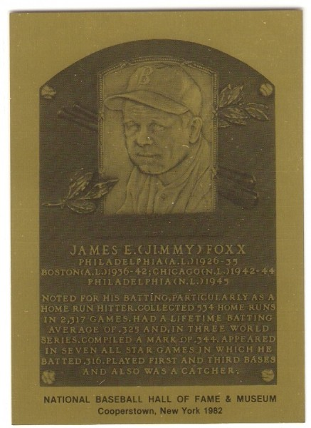 1981-89 Hall of Fame Plaque Metal #60 Jimmie Foxx