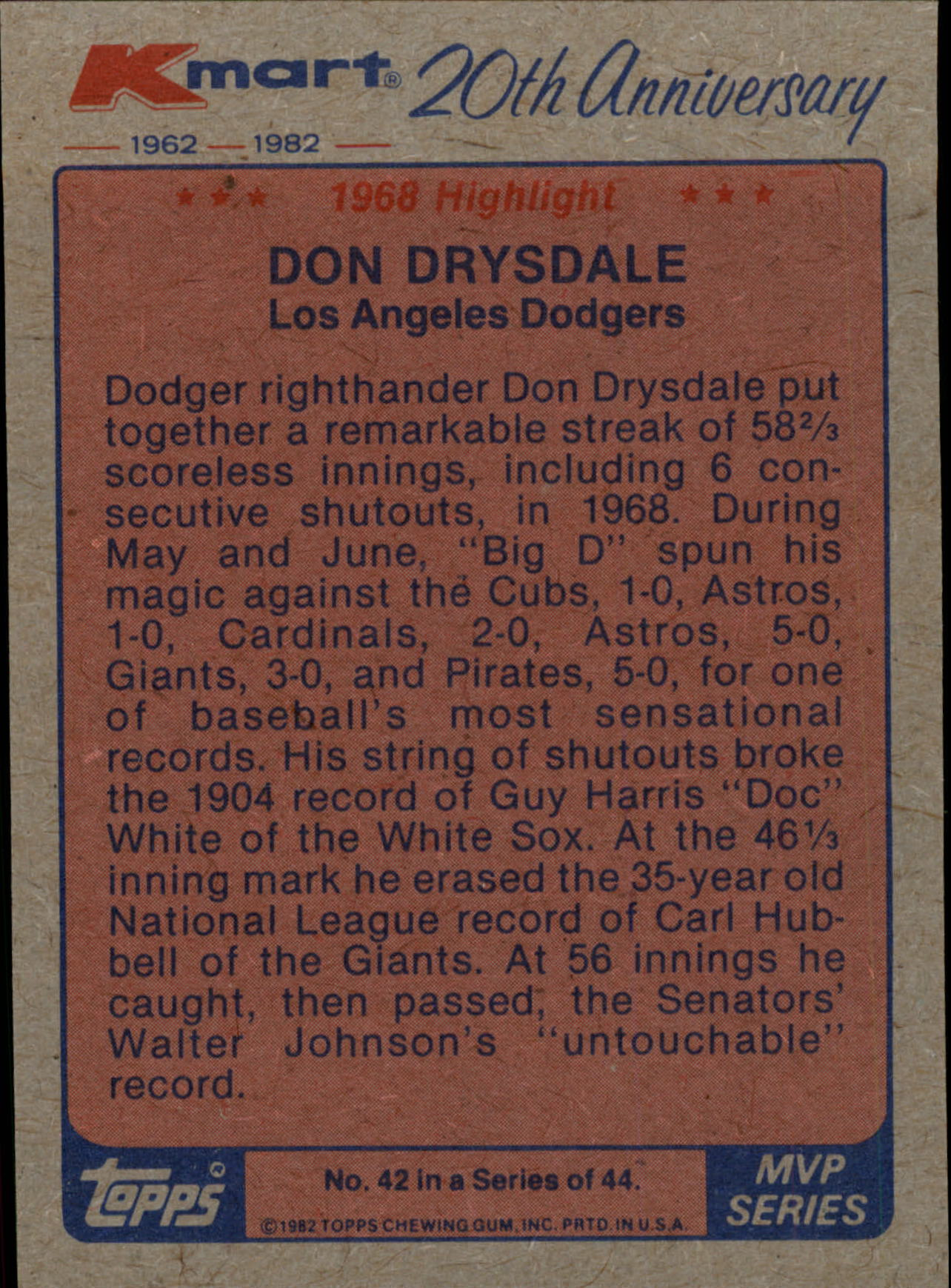 1982 K-Mart #42 Don Drysdale '68 HL/(Scoreless innings) back image