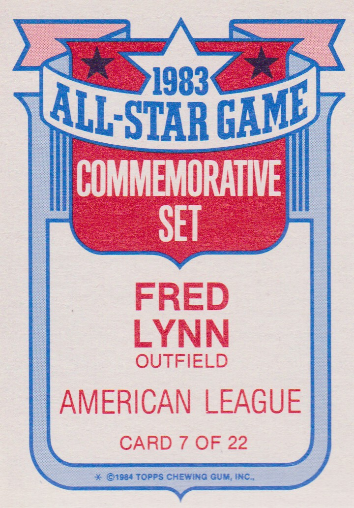 1984 Topps Glossy All-Stars #7 Fred Lynn back image