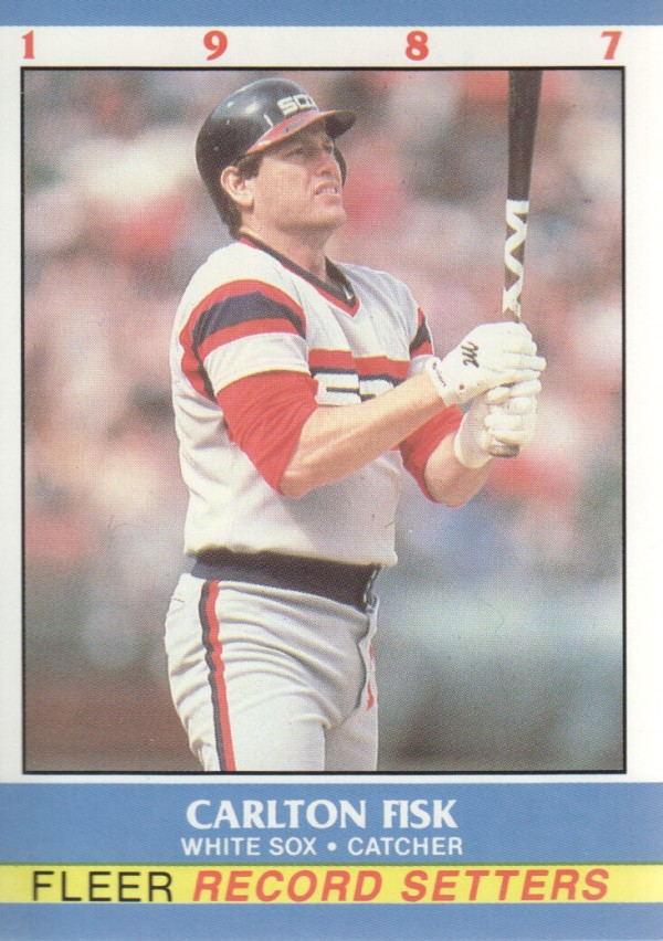 1987 Fleer Record Setters #8 Carlton Fisk UER/(8 of 44' on back)