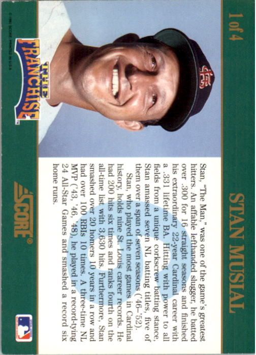 1992 Score Franchise #1 Stan Musial back image
