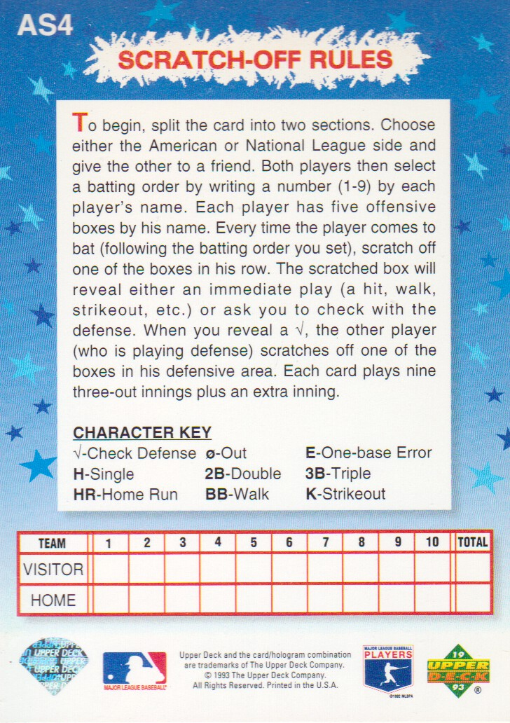 1993 Fun Pack All-Stars #AS4 R.Alomar/R.Sandberg back image