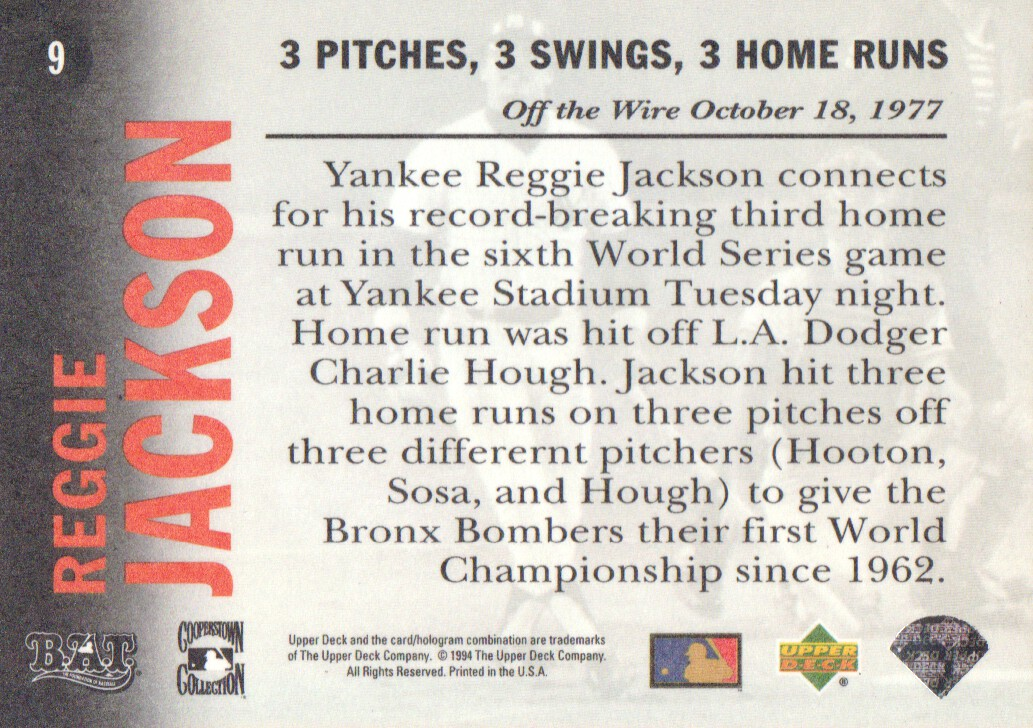 1994 Upper Deck All-Time Heroes 125th Anniversary #9 Reggie Jackson back image