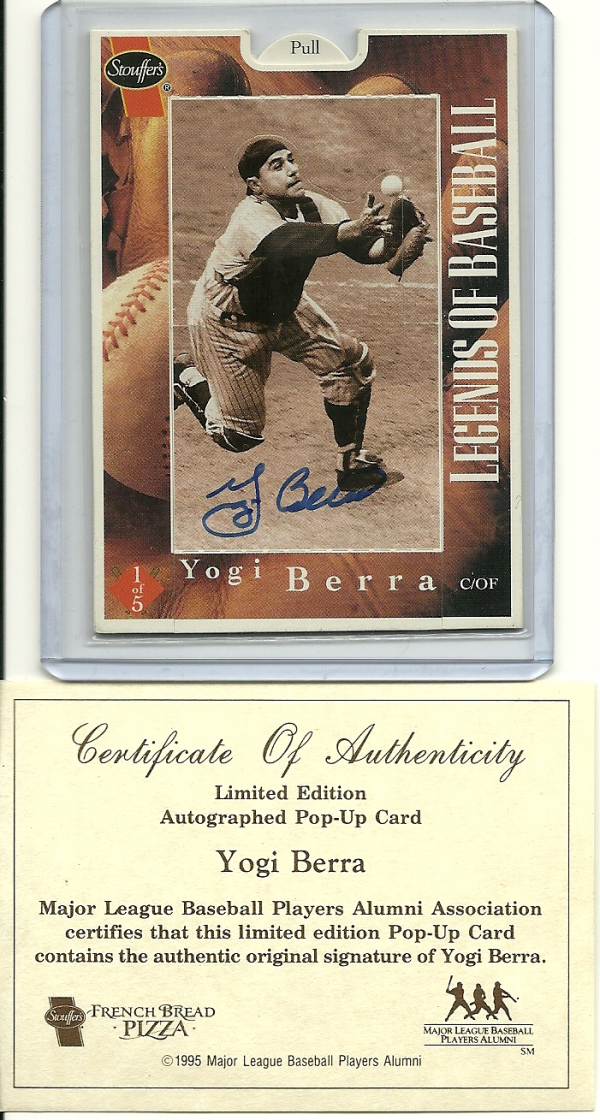 1995 Stouffer Pop-ups #1A Yogi Berra/Certified Auto