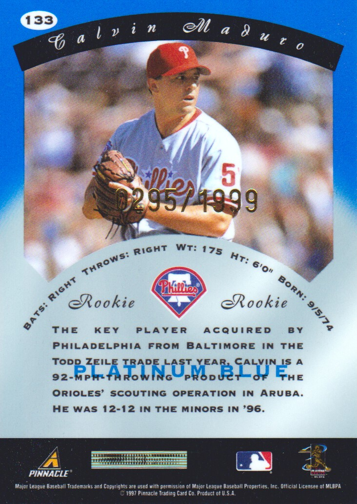1997 Pinnacle Totally Certified Platinum Blue Baseball Cards Pick From List