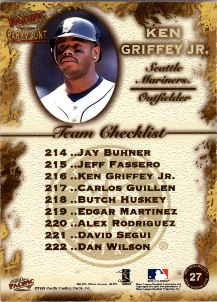 1999 Paramount Team Checklists #27 Ken Griffey Jr. back image