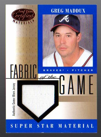 2001 Leaf Certified Materials Fabric of the Game #43BA Greg Maddux