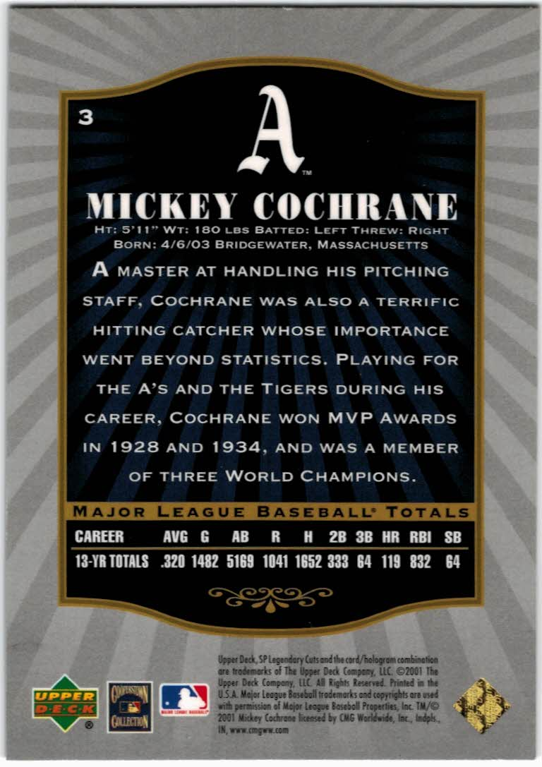 2001 SP Legendary Cuts #3 Mickey Cochrane back image