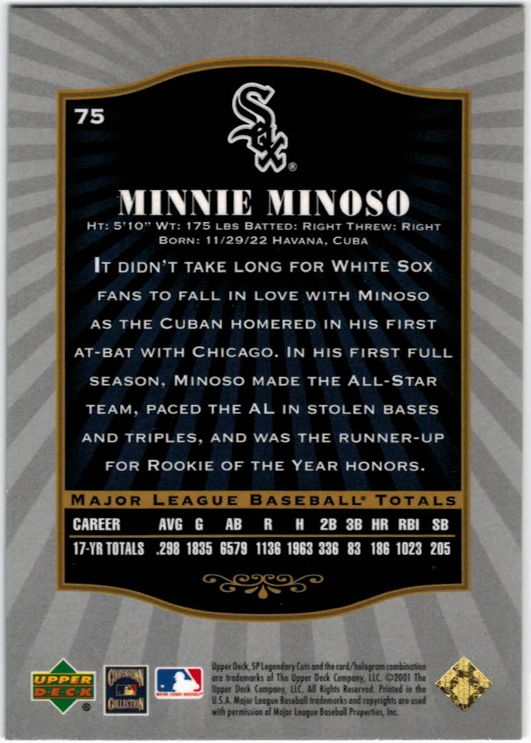 2001 SP Legendary Cuts #75 Minnie Minoso back image