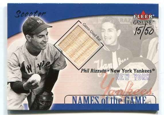 2001 Fleer Genuine Names Of The Game #23 Phil Rizzuto Bat