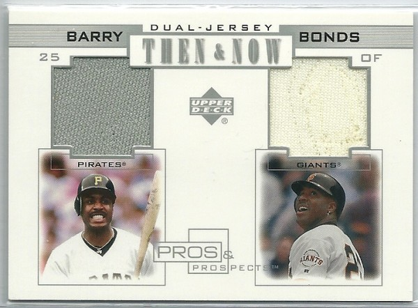2001 Upper Deck Pros and Prospects Then and Now Game Jersey #TNB Barry Bonds