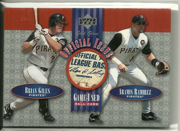 2001 Upper Deck Gold Glove Official Issue Game Ball #OIGR Brian Giles/Aramis Ramirez