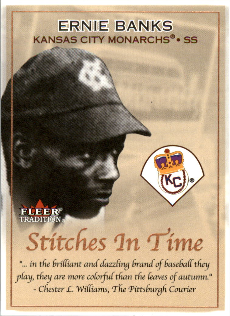 2001 Fleer Tradition Stitches in Time #ST2 Ernie Banks