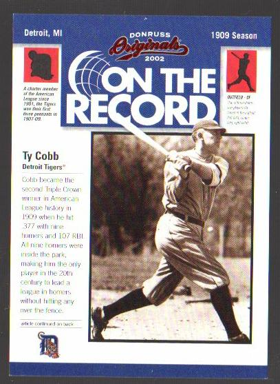 2002 Donruss Originals On The Record #1 Ty Cobb HR 9
