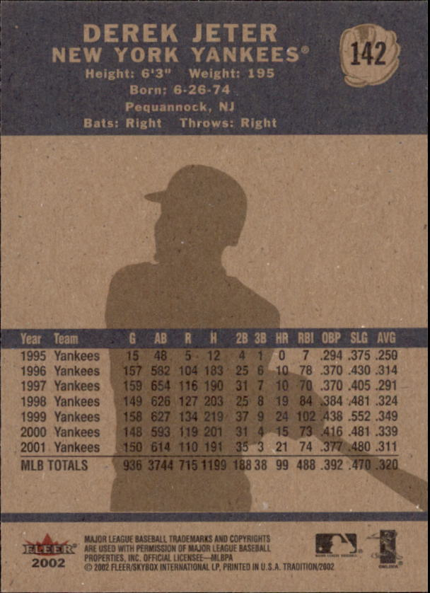 2002 Fleer Tradition #142 Derek Jeter back image