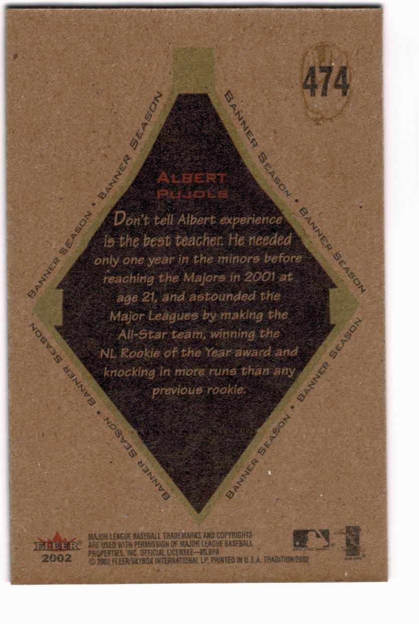 2002 Fleer Tradition #474 Albert Pujols BNR back image
