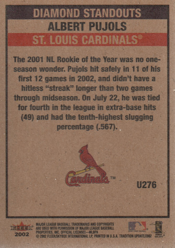 2002 Fleer Tradition Update #U276 Albert Pujols DS back image
