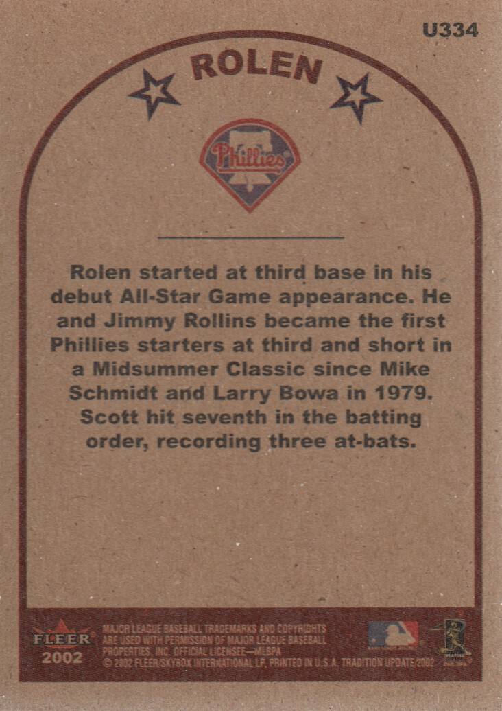 2002 Fleer Tradition Update #U334 Scott Rolen AS back image